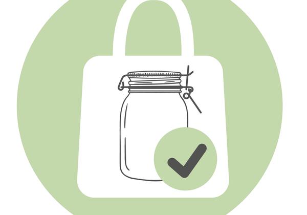 Symbol für Einkauf in eigenen Behältnissen